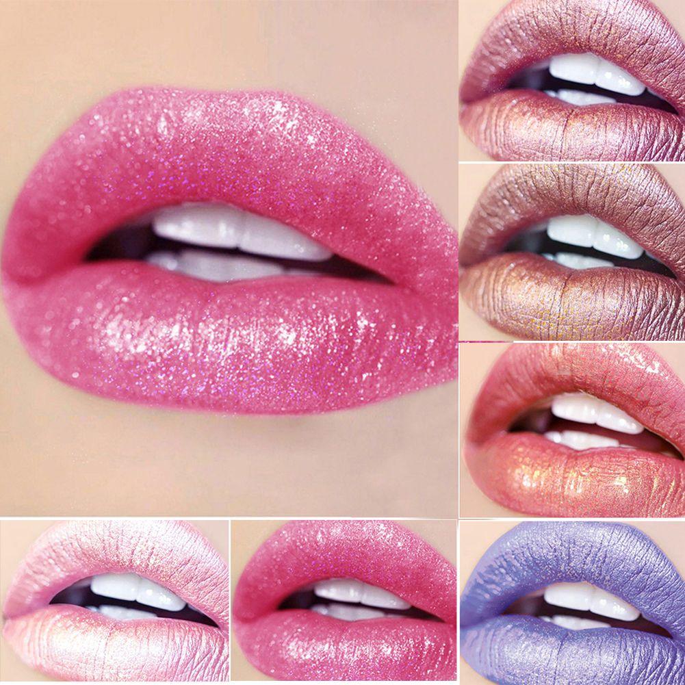 Metal Diamond Shimmer Pearly Lipstick Party Glitter Lip