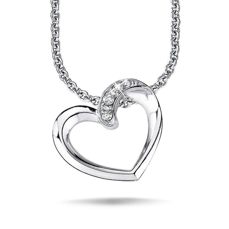 Halsketten für damen  s.Oliver Jewel Damen Halskette Collier Silber Zirkonia Herz SO504 ...