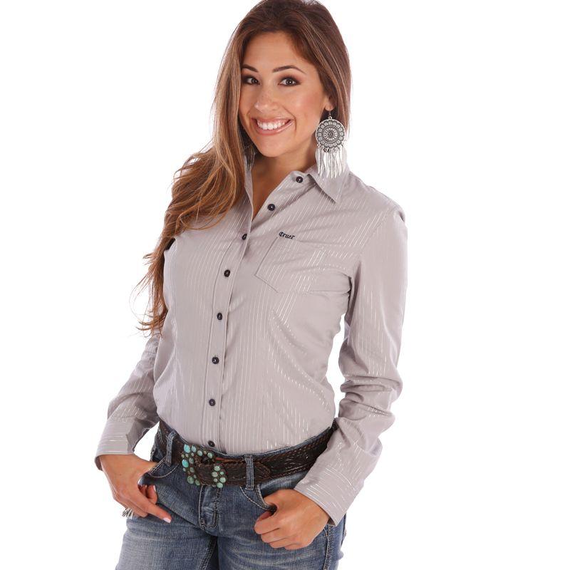 79abc690f Women's Cruel Girl Silver Metallic Stripe Buttondown Shirt   Fashion ...