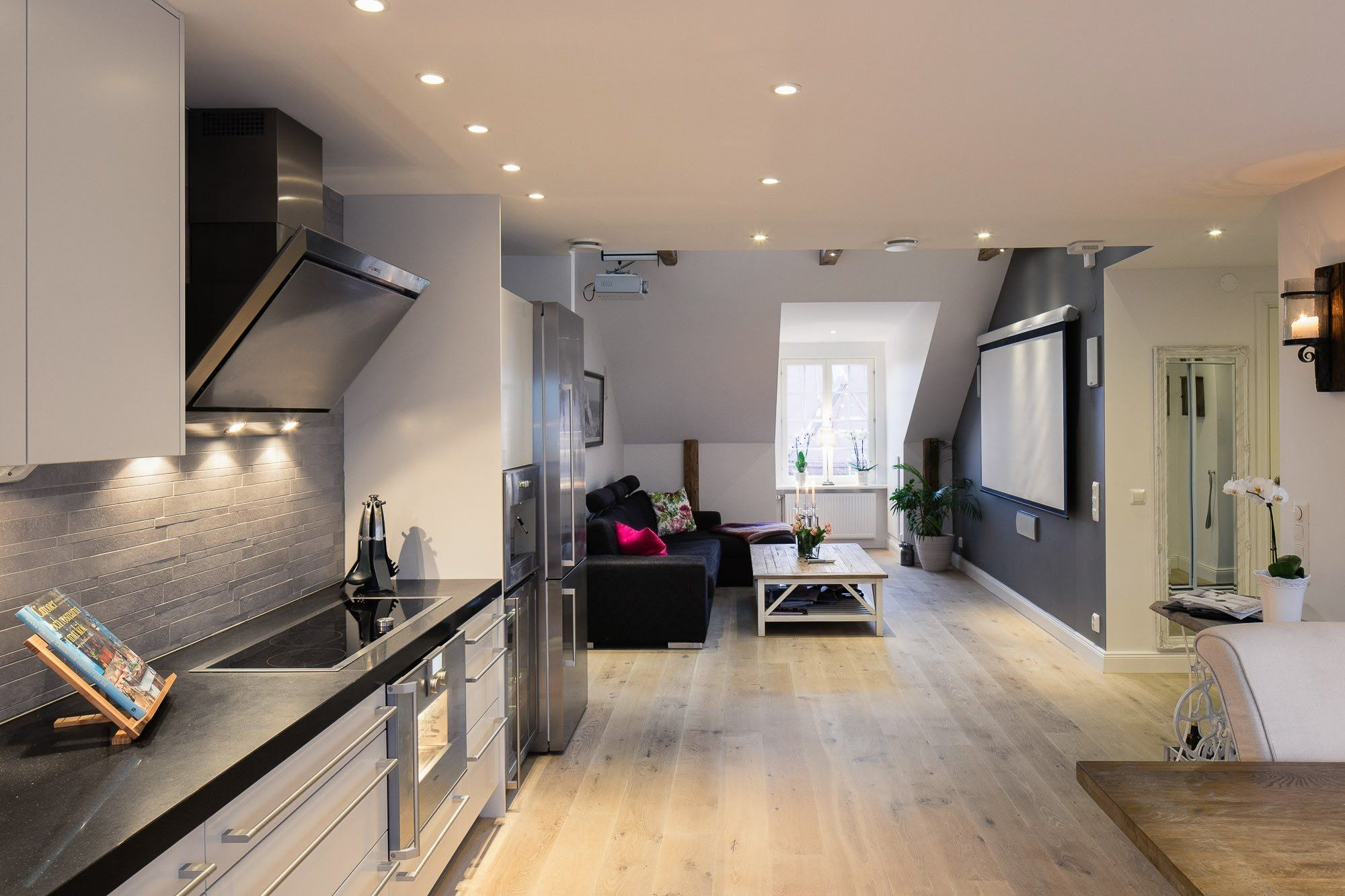 Elegant Small One Bedroom Modern Attic Apartment With Exposed Wood ...