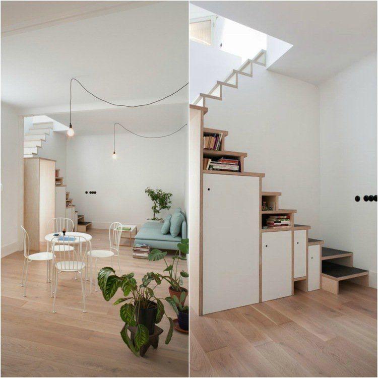 Escalier gain de place premier pas vers am nagement petit for Petit escalier en bois
