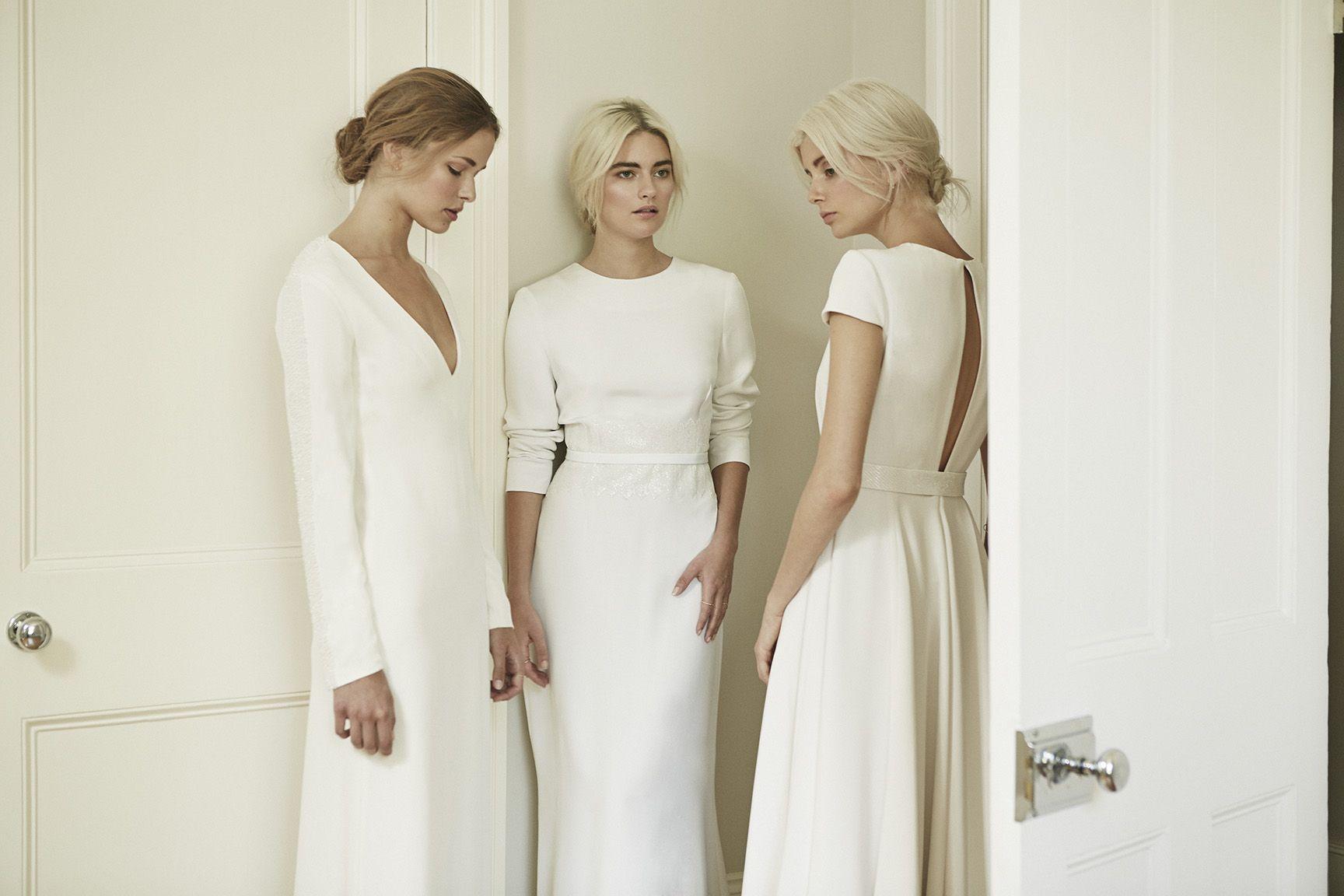 Charlotte simpson long sleeve wedding dress open back wedding dress