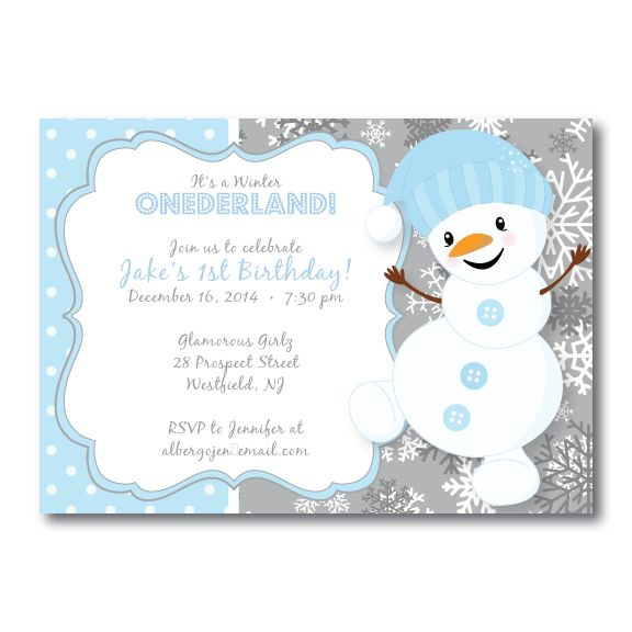 Winter onederland first birthday invitation snowman snow party winter onederland first birthday invitation snowman filmwisefo Image collections