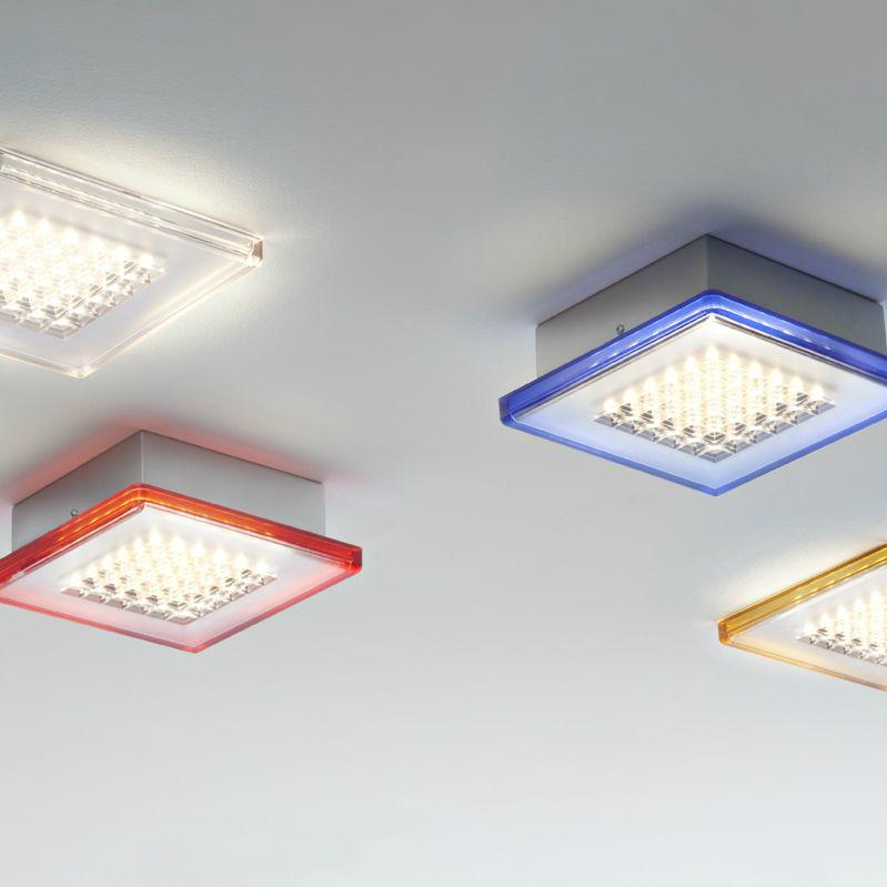 Plafonnier LED de salle de bain Transparent Bleu L40cm QUADRILED