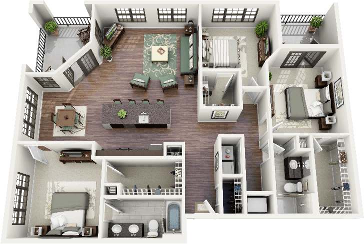 3D open floor plan 3 bedroom 2 bathroom - Google Search ...