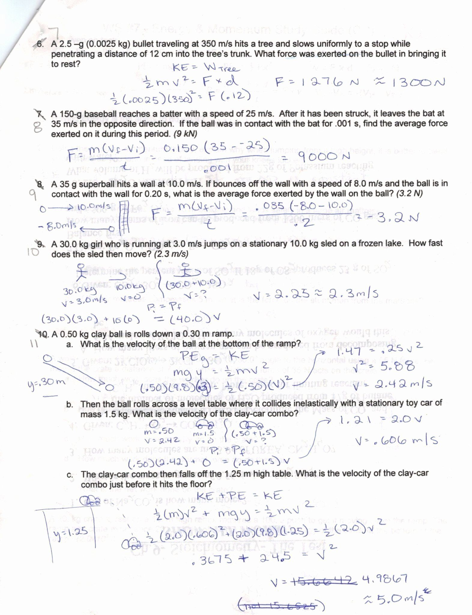 Acceleration Worksheet With Answers Inspirational