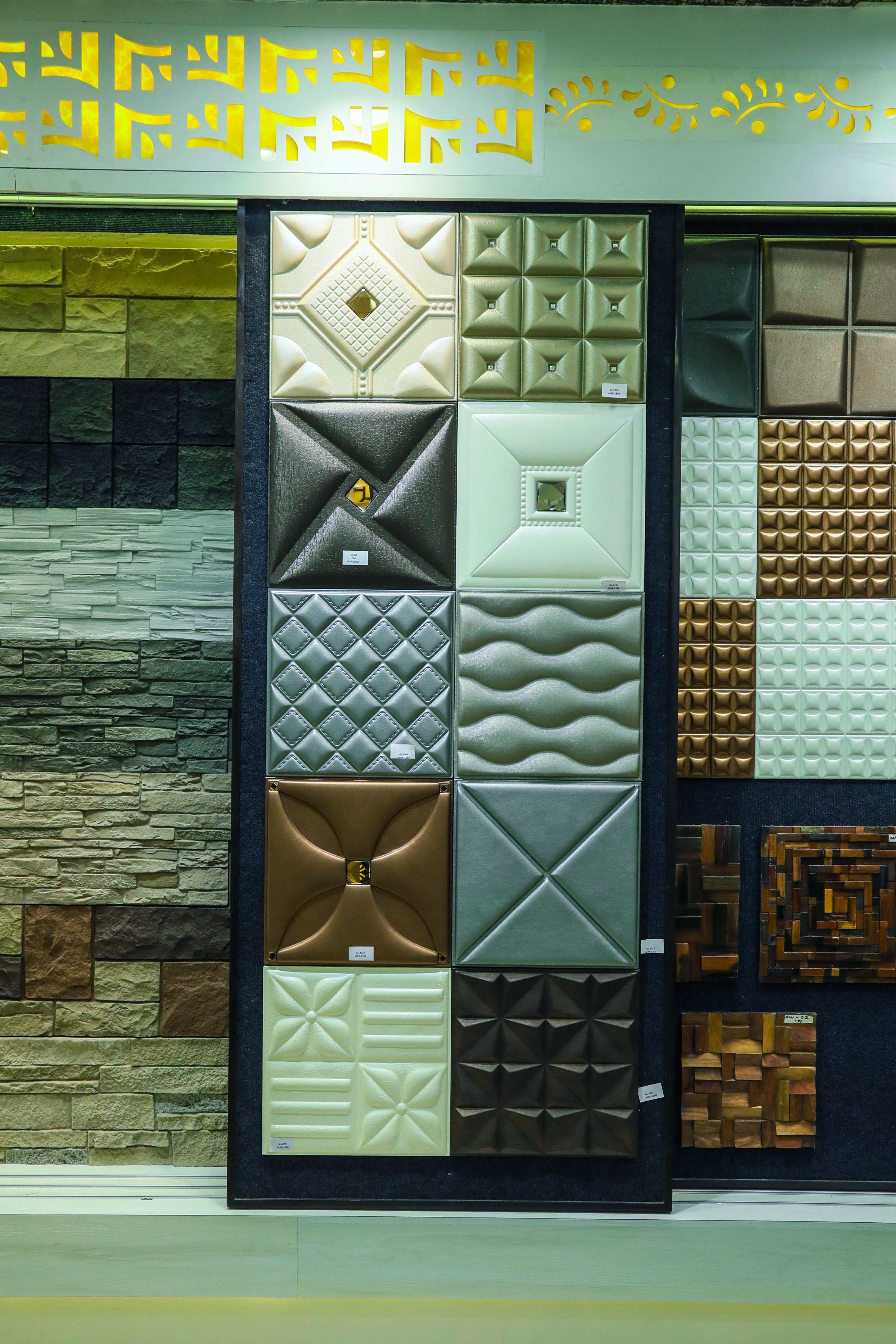 Leatherite Panels Highlighters Display Showroom Showroom Interior Design Ceiling Design Bedroom Bathroom Tile Designs