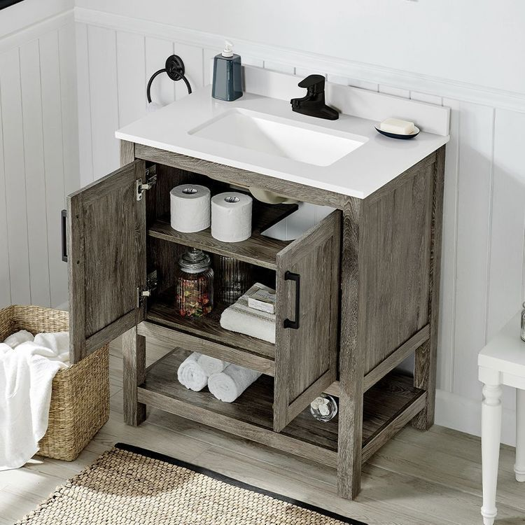 Ove Decors Charles 30 In Weathered Gray Single Sink Bathroom Vanity With White Cultured Marble Top Mirror Included Lowes Com In 2020 Single Sink Bathroom Vanity Bathroom Sink Vanity Bathroom Vanity