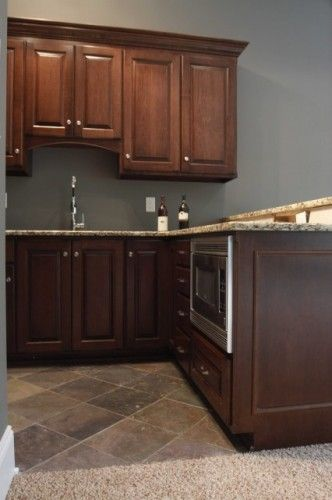 Pin By Jodee Haase On Kitchen Ideas Dark Brown Cabinets Brown Kitchen Cabinets Brown Cupboards
