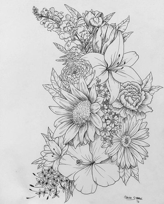 Floral - flower drawing, black and white illustration | Line ...