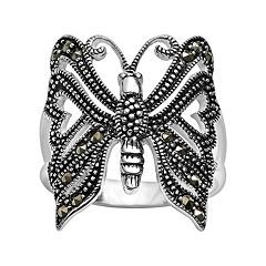 Silver Plated Marcasite Openwork Butterfly Ring
