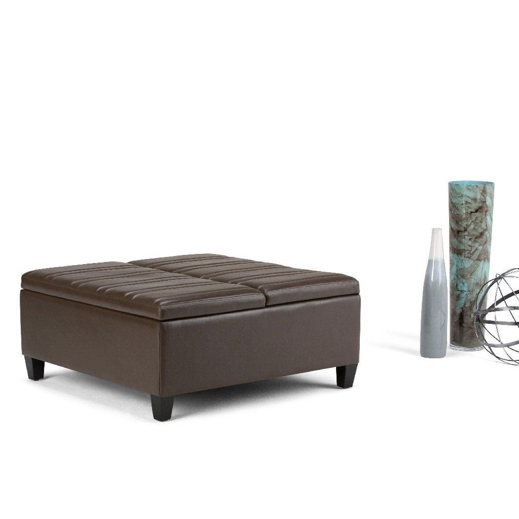 Ellis 36 Inch Wide Contemporary Square Coffee Table Storage Ottoman In Chocolate Brown Faux Storage Ottoman Coffee Table Square Storage Ottoman Storage Ottoman [ 1024 x 1024 Pixel ]