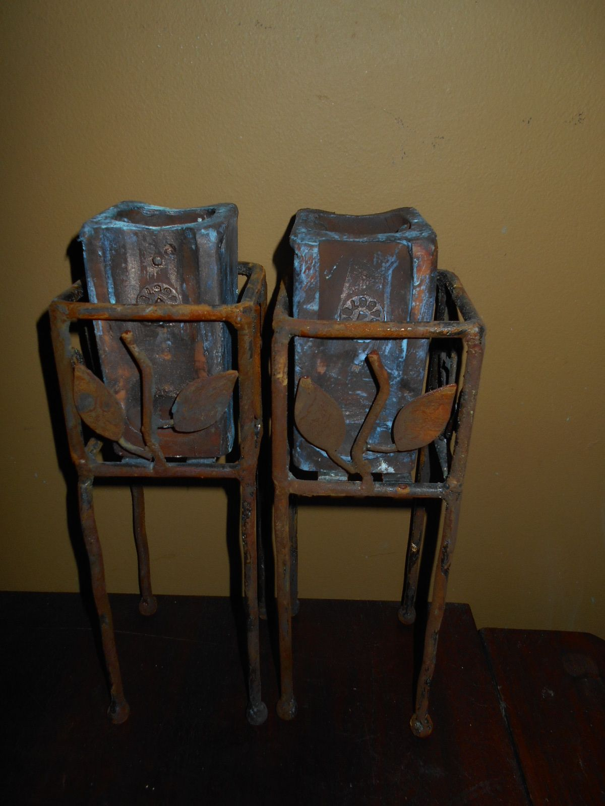 Industrial candleholders made from old stands and old auto parts...