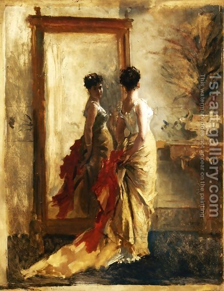 Woman In Front Of A Mirror Painting By Mose Bianchi Reproduction 1st Art Gallery Mirror Painting Art Oil Painting Woman