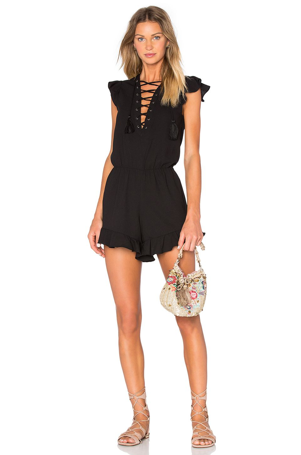 6eb322183619 Endless Rose Lace Up Ruffle Romper in Black