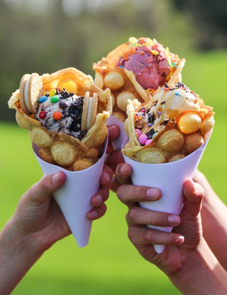 Bubble Waffle Ice Cream Cones Bubble Waffle Waffle Cone Recipe