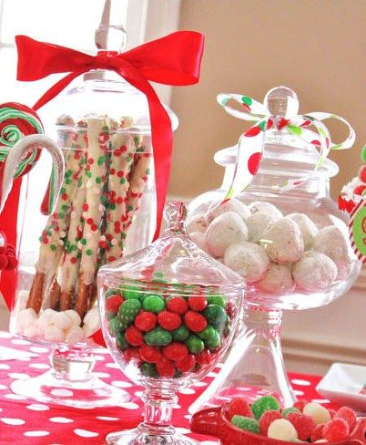 14 id es faciles pour d corer votre table de no l avec des bonbons christmas party. Black Bedroom Furniture Sets. Home Design Ideas