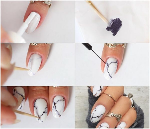 How to do marble nails at home with sharpie | Nail art ideas ...