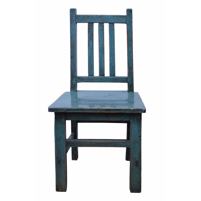 Oriental Handmade Rustic Blue Color Mini Small Wood Chair Vs539s