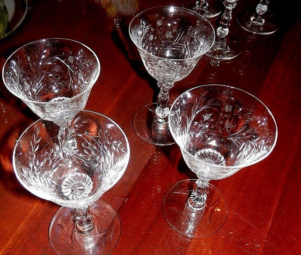 Vintage Optic Floral Etched Crystal Cordial Wine Mini Martini Mini Martini Etched Glassware Cordial