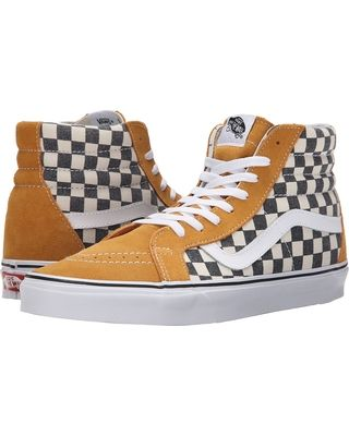 Vans Vans - SK8-Hi Reissue ((Checkerboard) Spruce Yellow/Navy) Skate Shoes  from Zappos