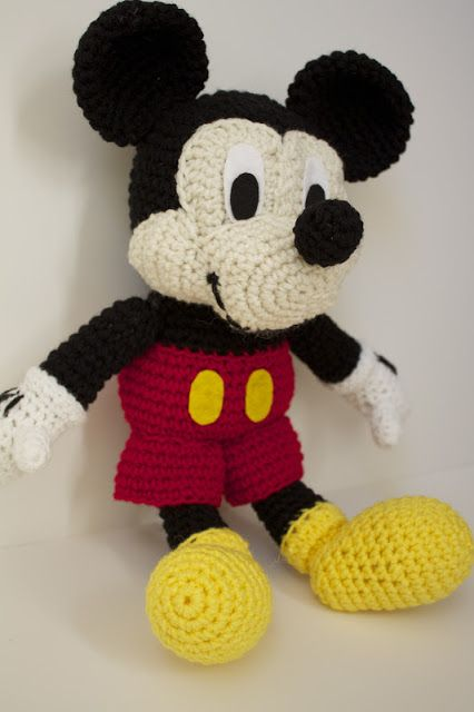 Free Mickey Mouse Stuffed Toy Crochet Patterns Crocheted Mickey