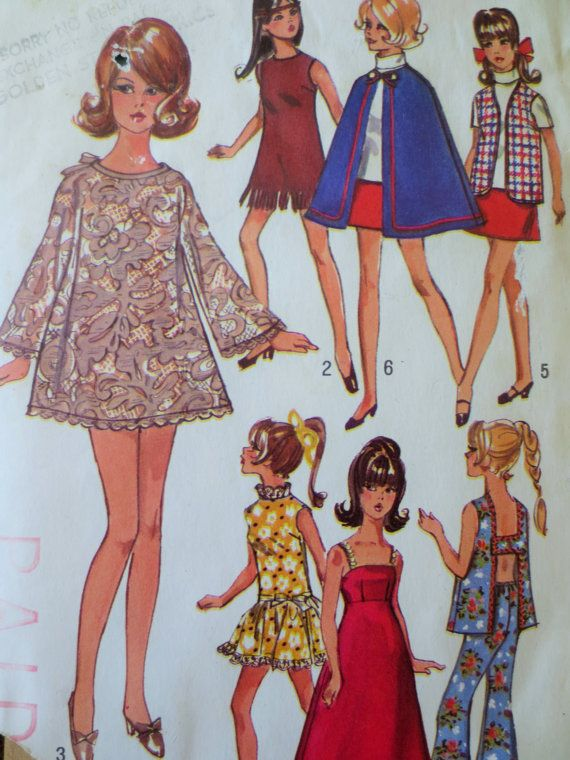 Vintage Simplicity 8466 Sewing Pattern, Barbie Clothes, 1960s Doll ...