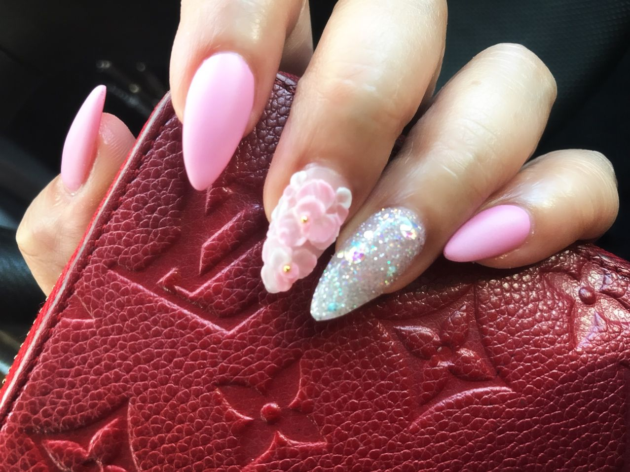Pink Matte 3d Flowers Nail Art Claws Pinterest