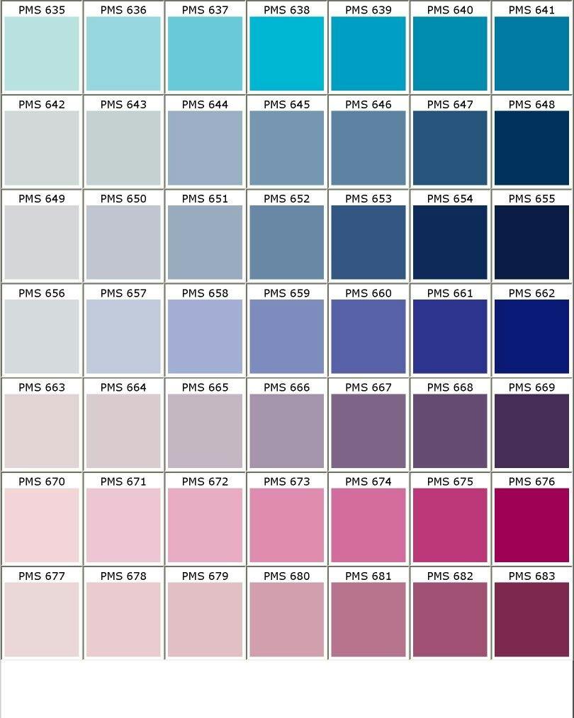 nuancier pantone bleu violet rose