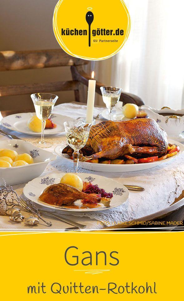 gans mit quitten rotkohl und kartoffelkn deln rezept festessen k stliche weihnachten. Black Bedroom Furniture Sets. Home Design Ideas