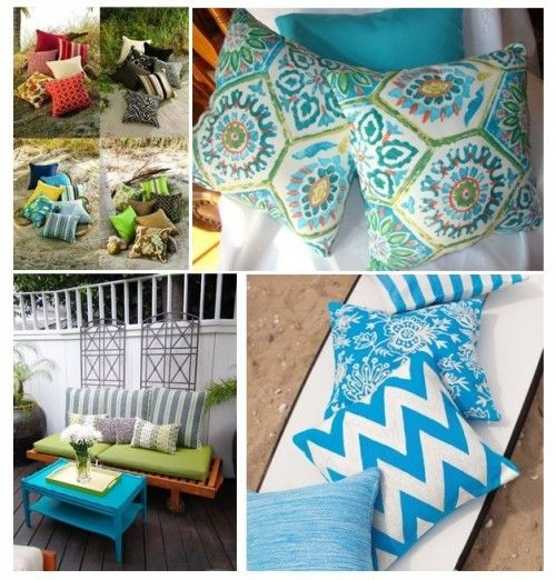 Outdoor Inspiration - Fabulous Outdoor Pillows - add a pop of color to your patio