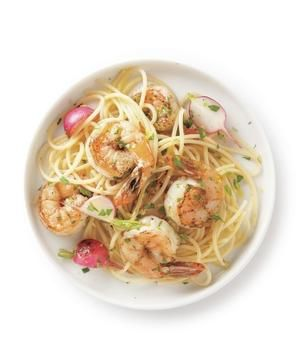Shrimp and Tarragon Spaghetti  Buttery noodles with sautéed shrimp get a lift from finely grated lemon zest.