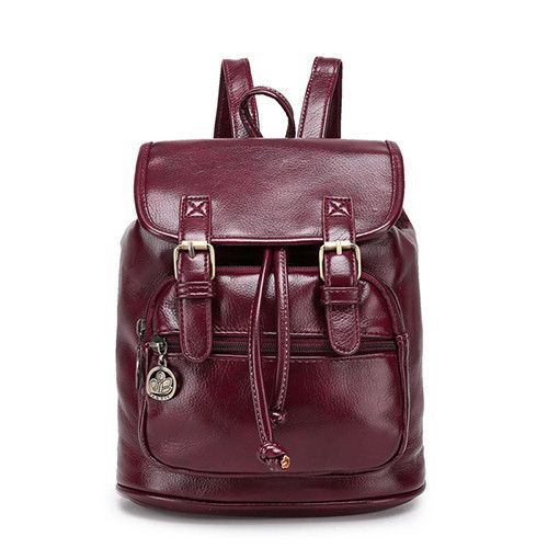 Vintage PU Leather High-Quality Buckle Accent Preppy Backpack 4 Colors 7bd282b208758