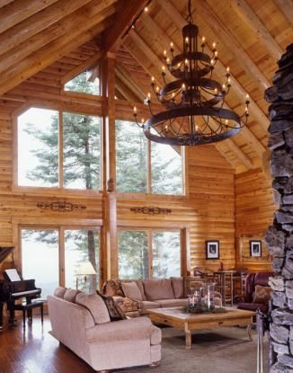 Log home great room in california with 8 39 x 12 39 hammerton for Log cabin chandelier