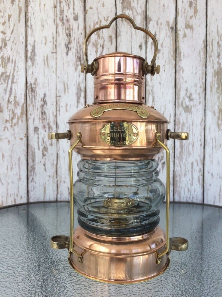 Brass Amp Copper Anchor Oil Lamp Nautical Maritime Ship
