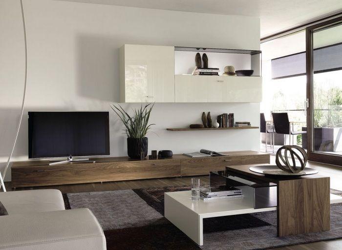 moderne wohnwand - massivholz weiß lack kombination - no14 - wohnzimmer weis modern