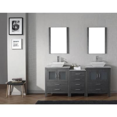 Virtu USA Dior 74 in. Double Vanity in Zebra Grey with Marble Vanity Top in White and Mirrors-KD-70074-WM-ZG - The Home Depot
