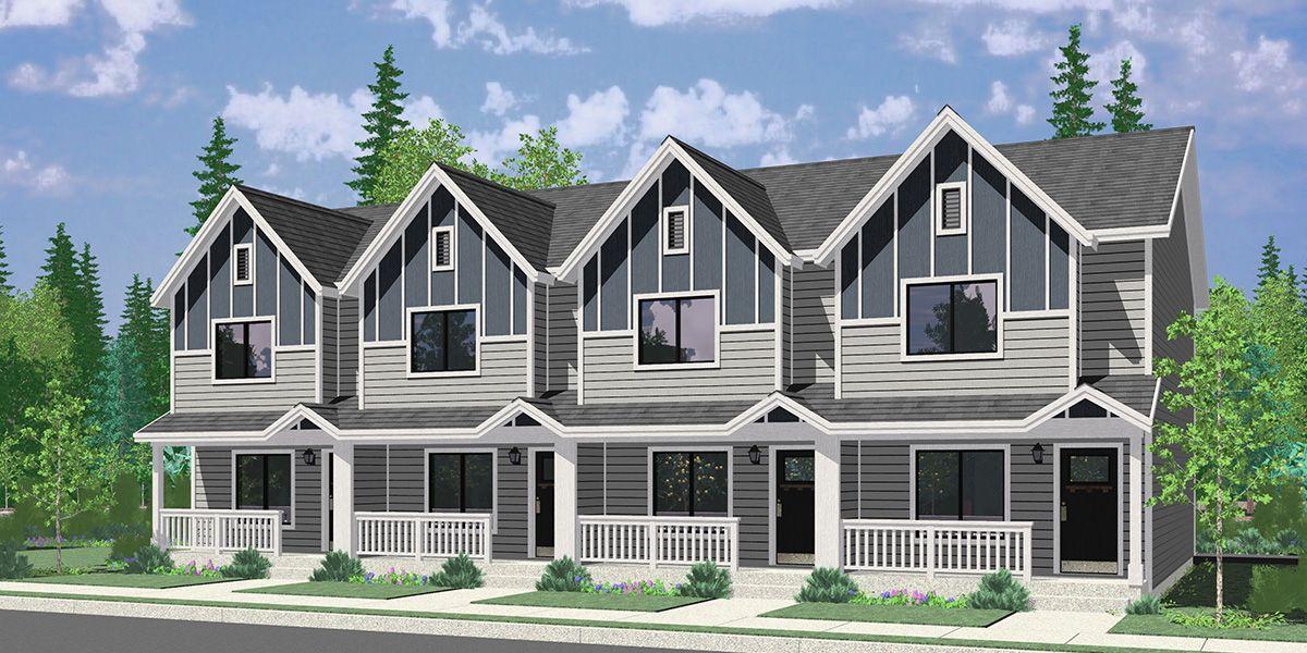 Plan F 616 Modern Townhouse W Double Master Bruinier Associates House Plans Duplex House Plans Town House Plans