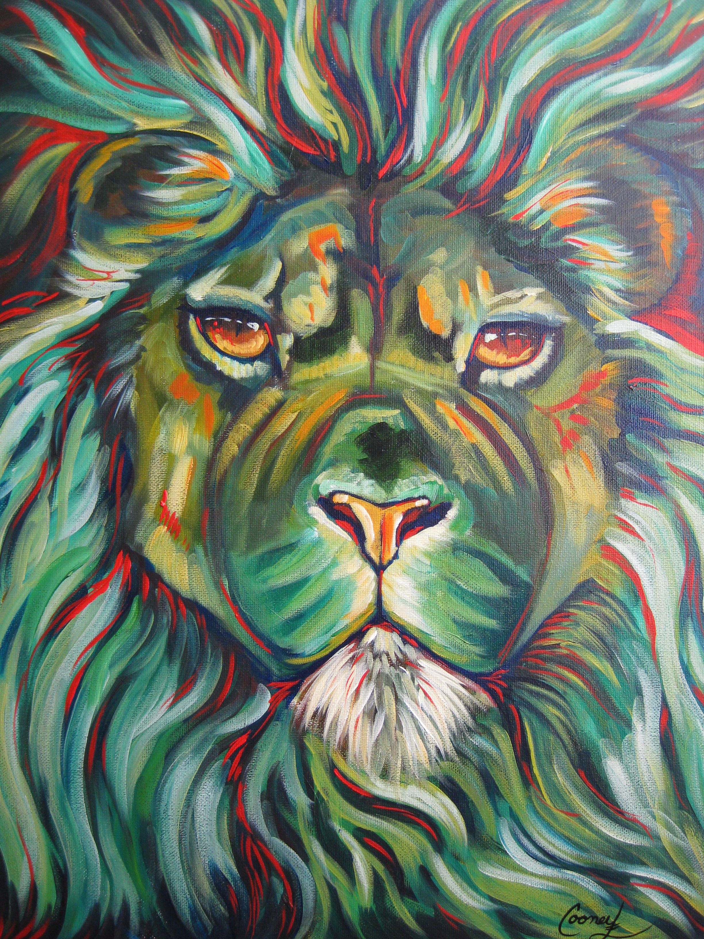 """Luminary"" 4-16-2014 daily painting challenge Cinnamon Cooney #22   expressive lion in Red and Green"