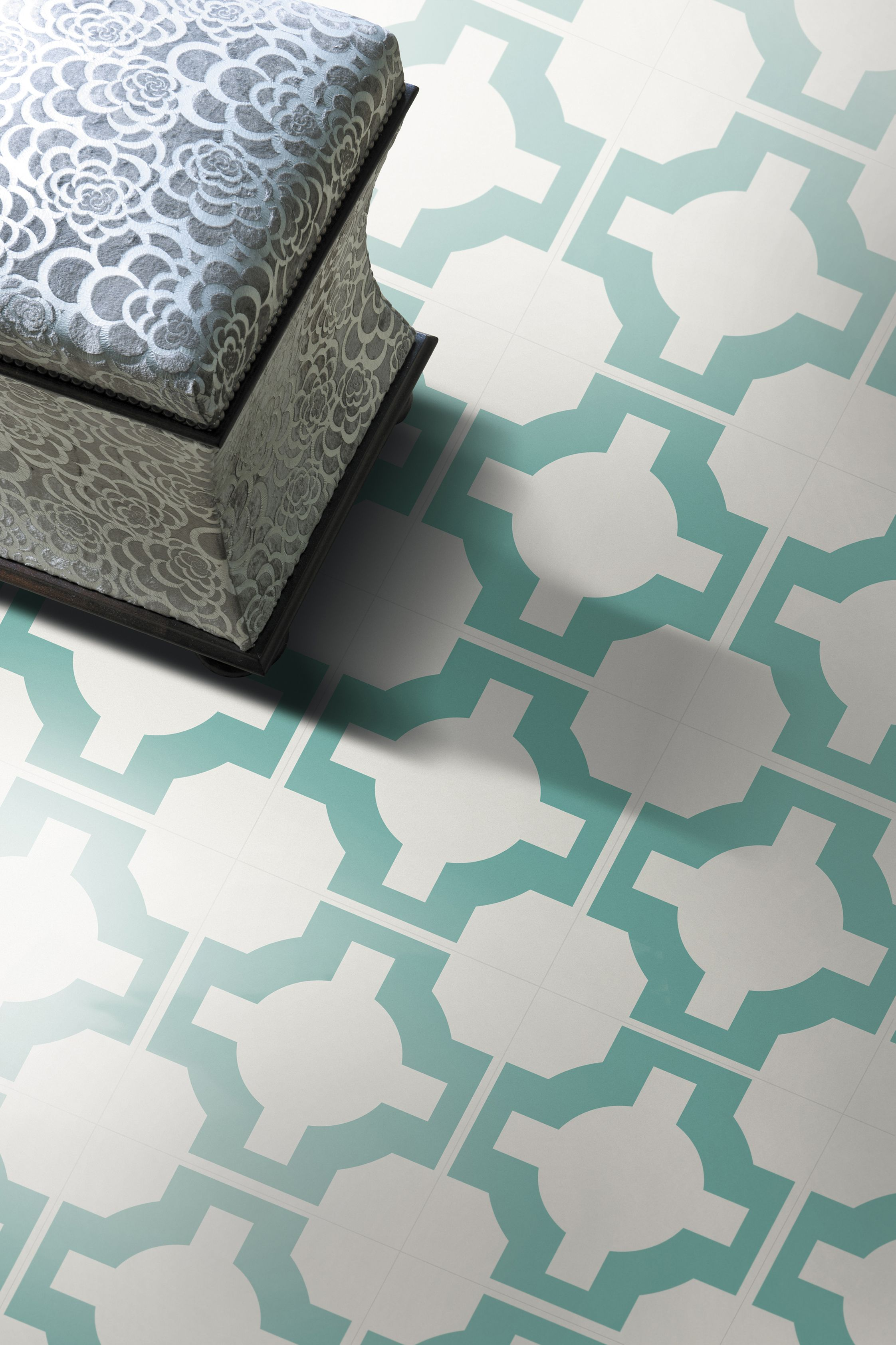 Neisha Crosland For Harvey Maria Parquet Turquoise Vinyl Tile Flooring Luxury