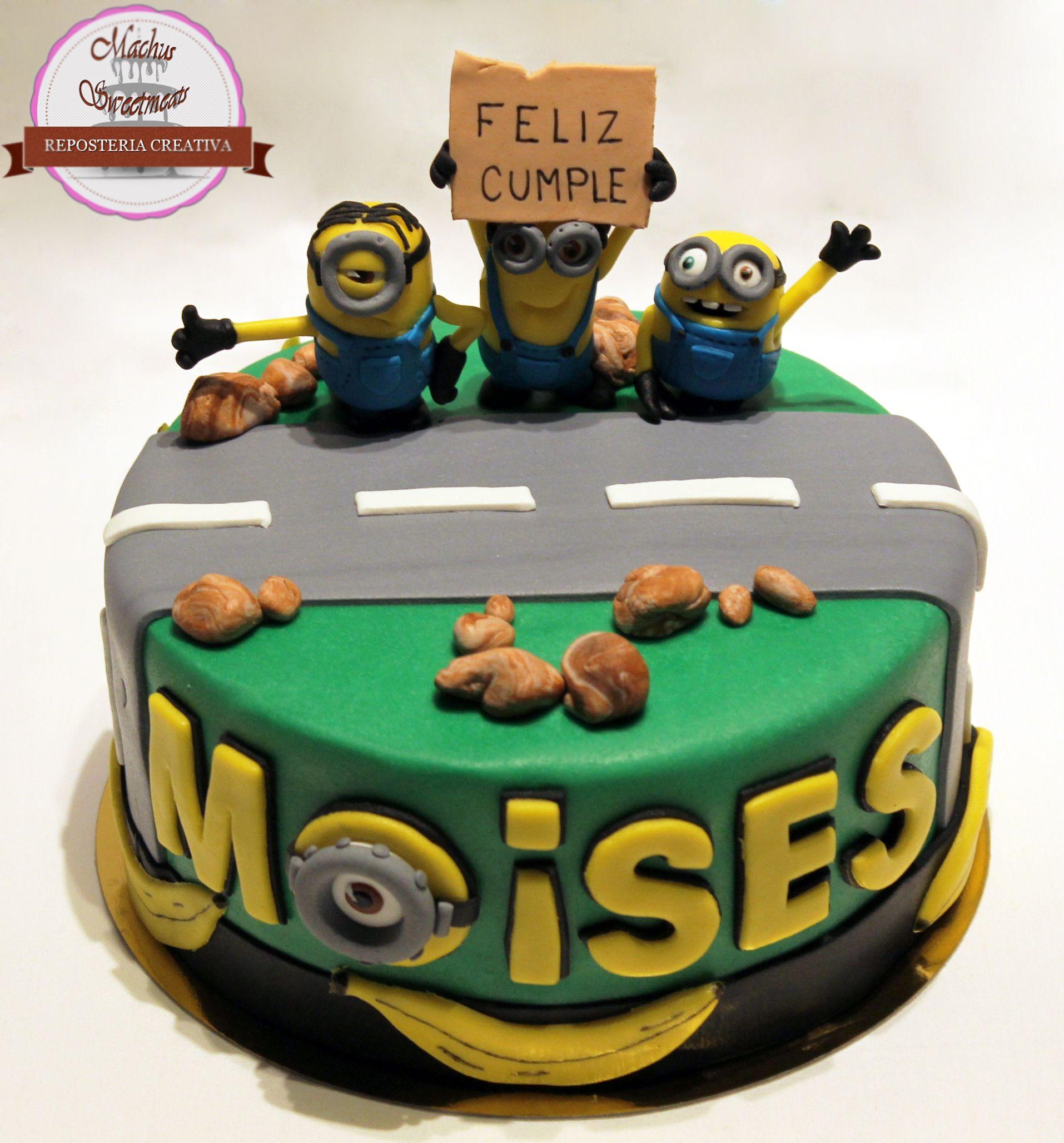 Tarta fondant Minions tarta de los simpáticos minions, inspirada en su ultima película, Sabor