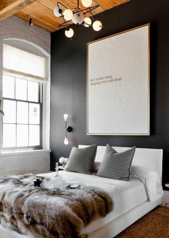 Schlafzimmergestaltung Graue Wandfarbe Pelz Bettdecke Schlafzimmer   Schlafzimmer  Deko Ideen Grau