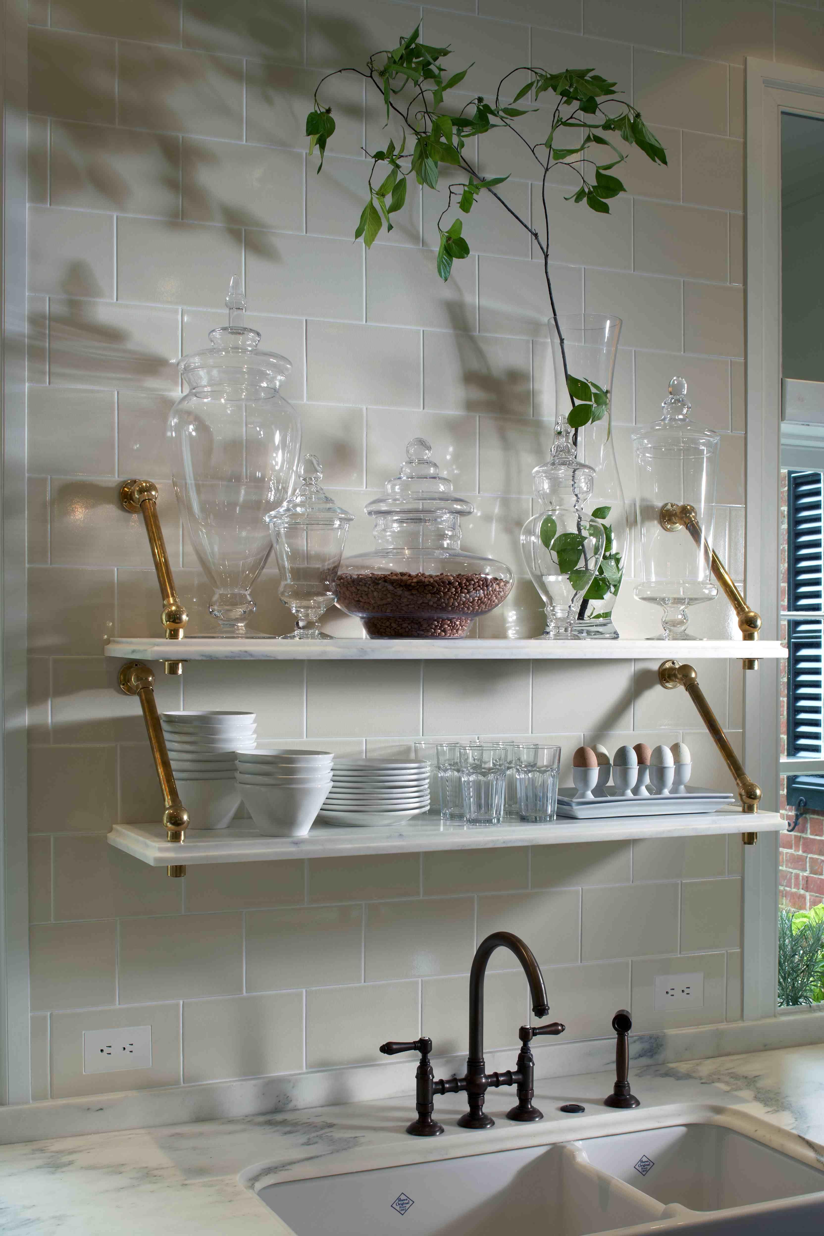 Stunning Kitchen Design With Stacked Marble Shelves With Antique Brass  Bracketsu2026