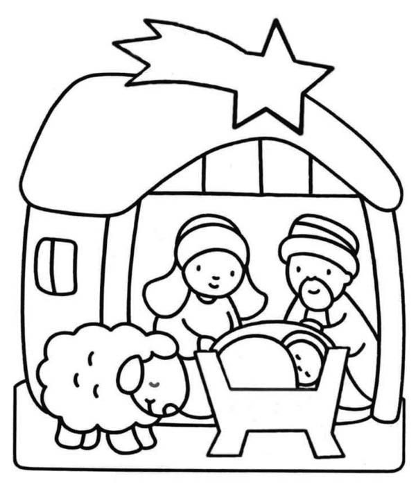 Nativity Scene For Kindergarten Kids Coloring Page Nativity Coloring Pages Printable Christmas Coloring Pages Jesus Coloring Pages