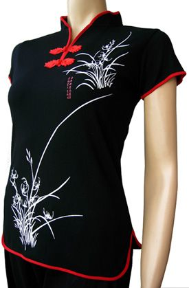 SHANGHAI SUMMER BLACK: It sizzles in Shanghai in summer like this sexy qi pao jersey Chinese top for women's fashion.