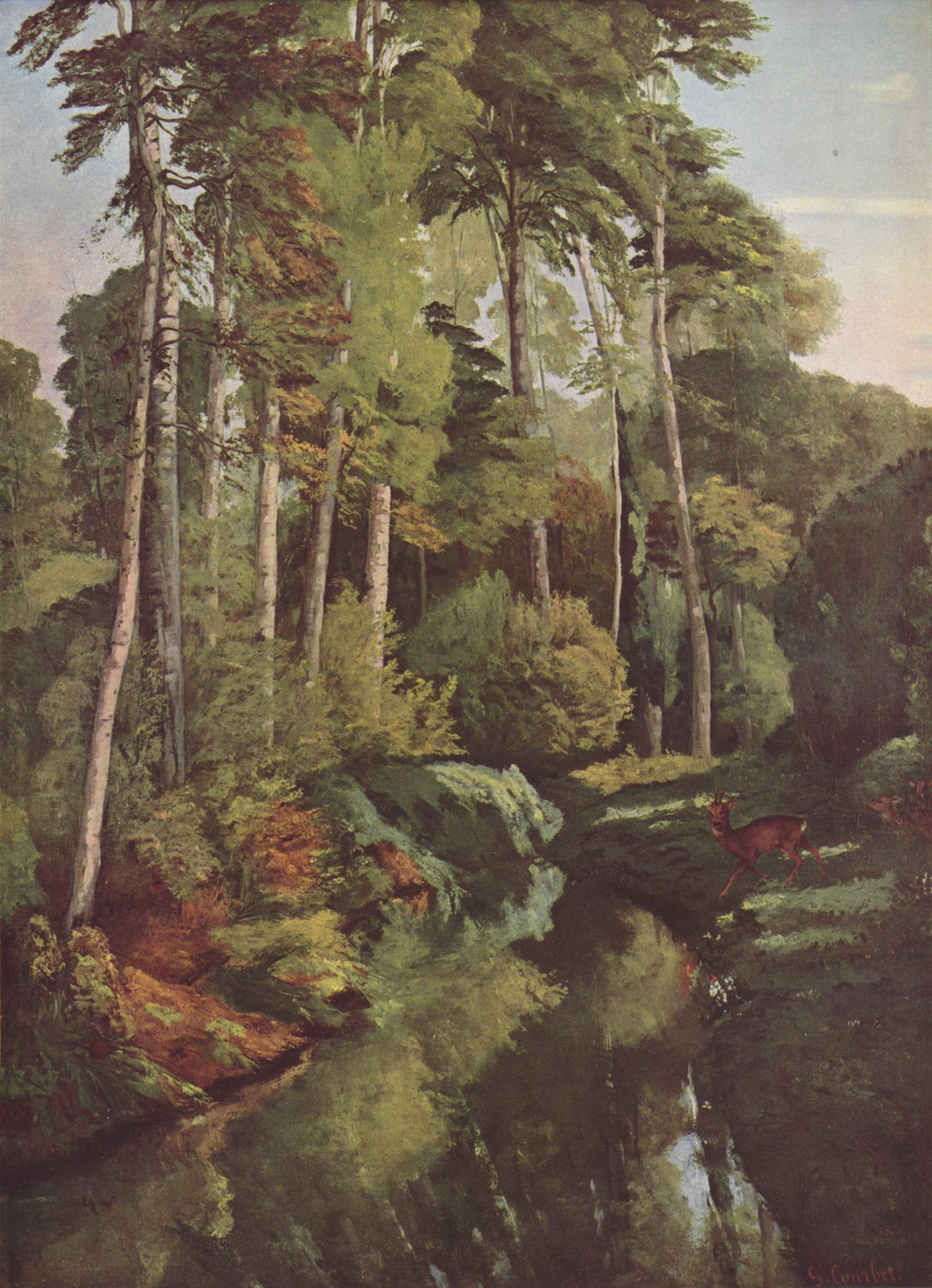 Forest Brook with Deer by @artistcourbet #frenchart #gustavecourbet