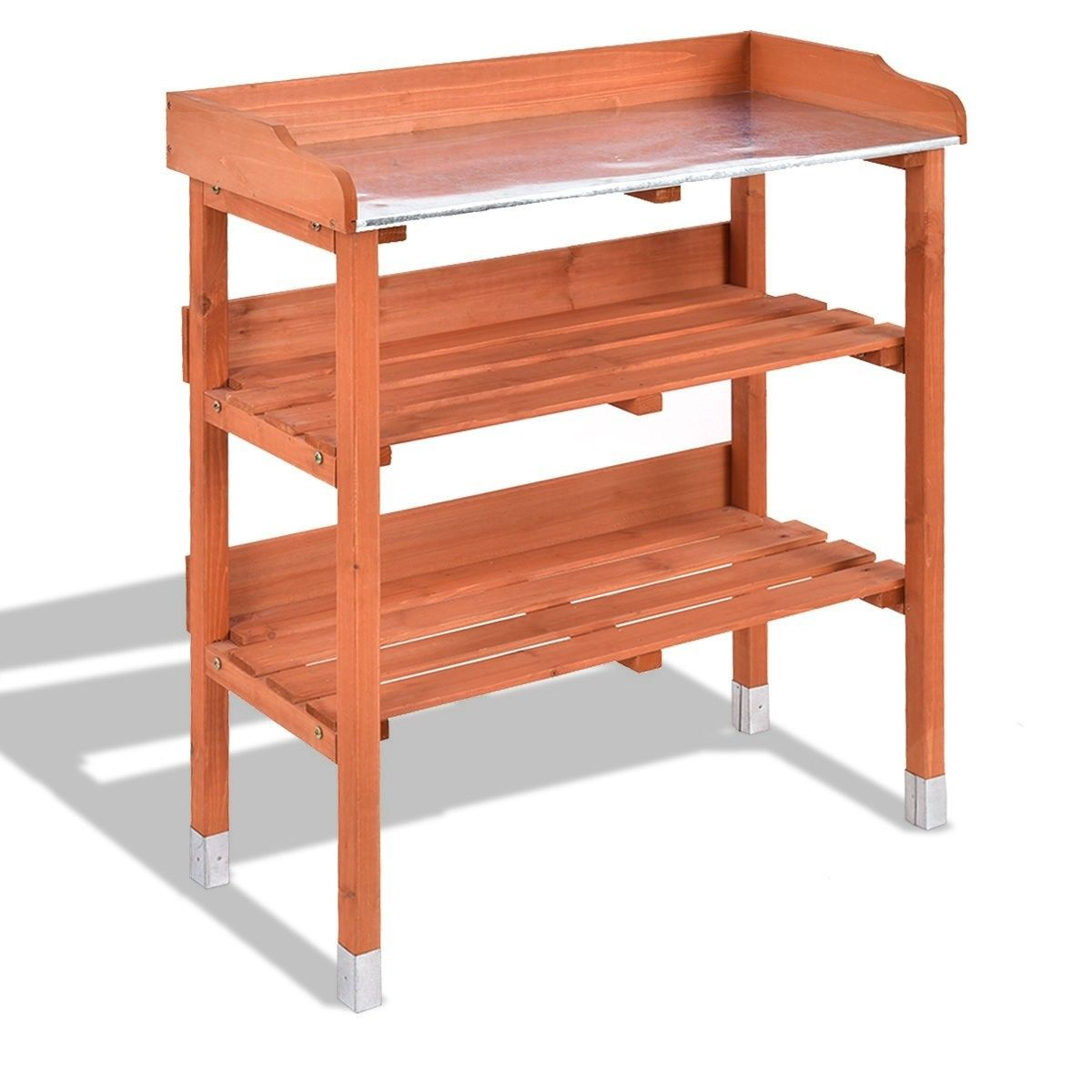 Garden Wooden Potting Bench Work Station With Hook Potting Bench Garden Tool Storage Furniture