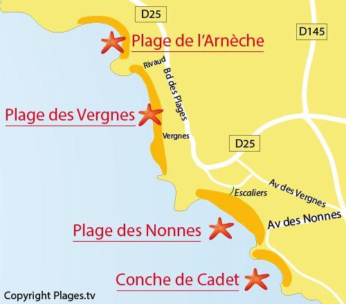 Carte De La Plage Des Nonnes A Meschers Charente Maritime