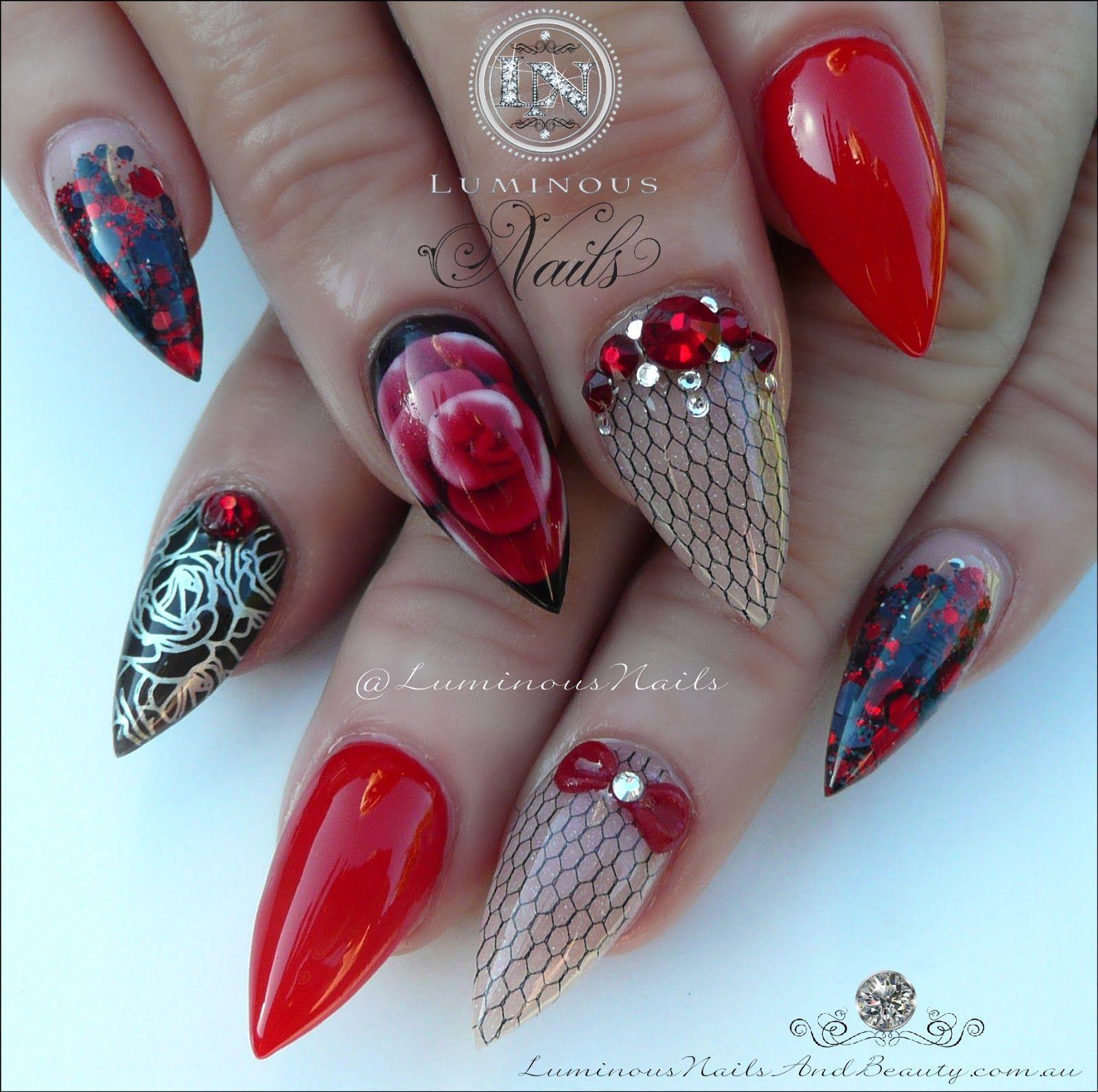 Luminous+Nails+%26+Beauty%2C+Gold+Coast+QLD.+Red+%26+Black+Nails.+ ...