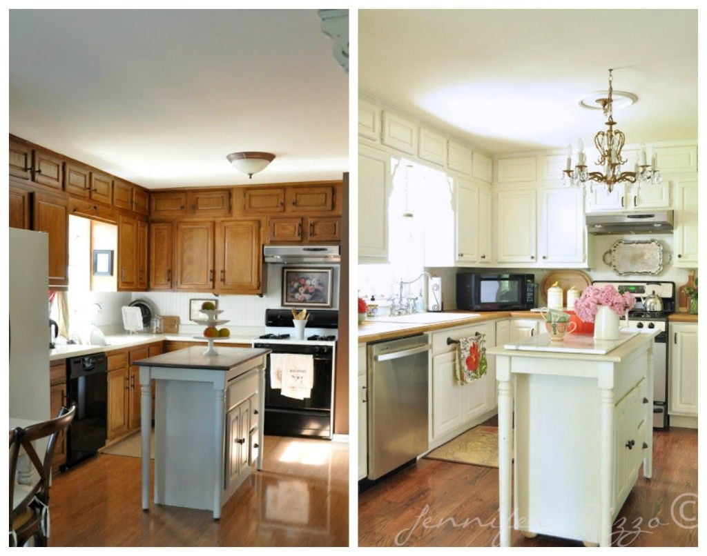 4 ideas how to update oak wood cabinets butcher for Before and after painting kitchen cabinets white